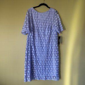 Tahari Periwinkle/Lilac Irene Embroidered Dress